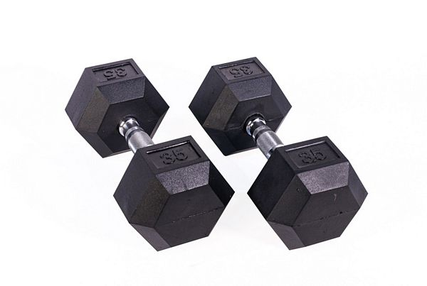 Black Hex Rubber Coated Dumbbell - 35 lb