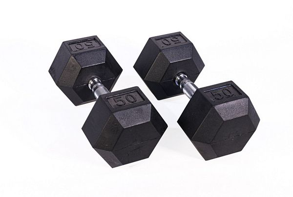 Black Hex Rubber Coated Dumbbell - 50 lb