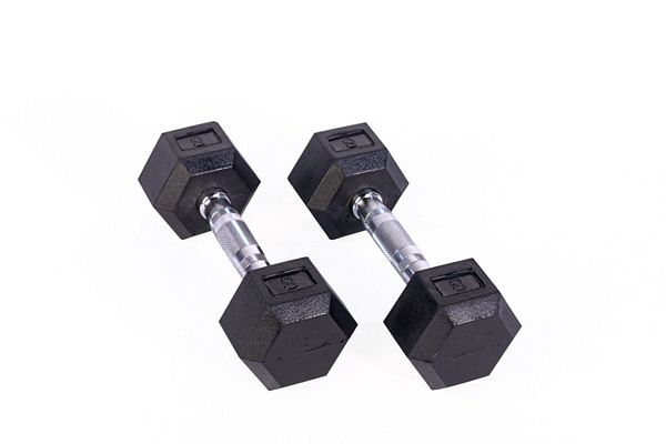 Black Hex Rubber Coated Dumbbell - 8 lb